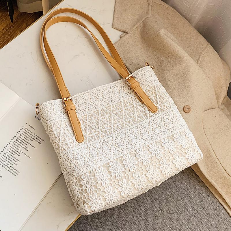 網紅ins超火大容量蕾絲包包女2020新款潮韓版百搭單肩斜挎手提包