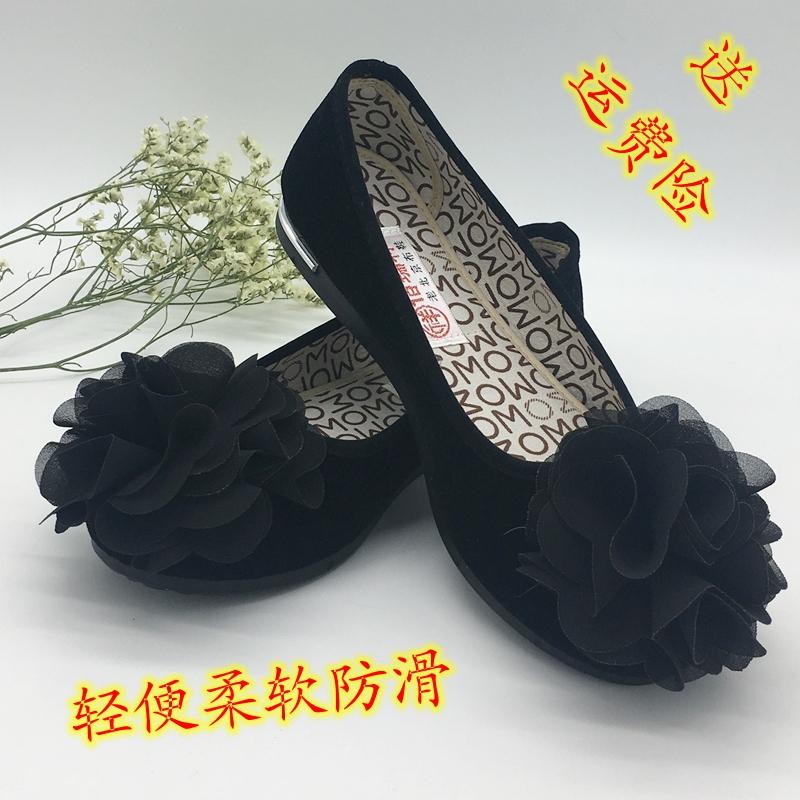 老北京布鞋女单黑色带花软底鞋酒店鞋妈妈鞋休闲酒店工作鞋豆豆鞋