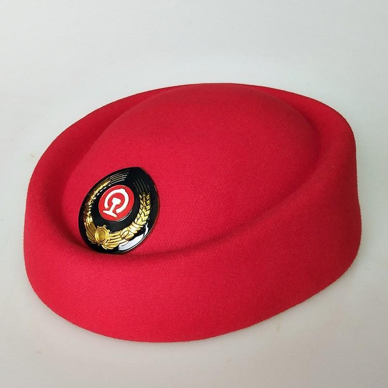 High speed train crew, conductor hat, railway girl hat, etiquette hat, red boat hat for railway school students