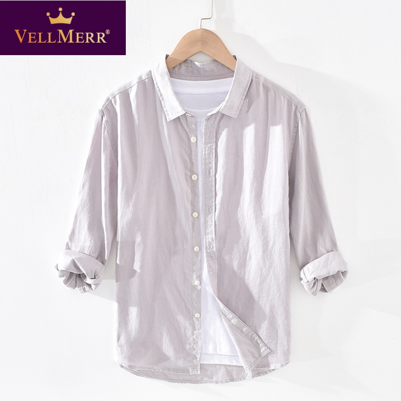 Linen shirt collar T-shirt for mens wear with led mens casual linen 7 / 4 sleeve medium sleeve T-shirt hy0924
