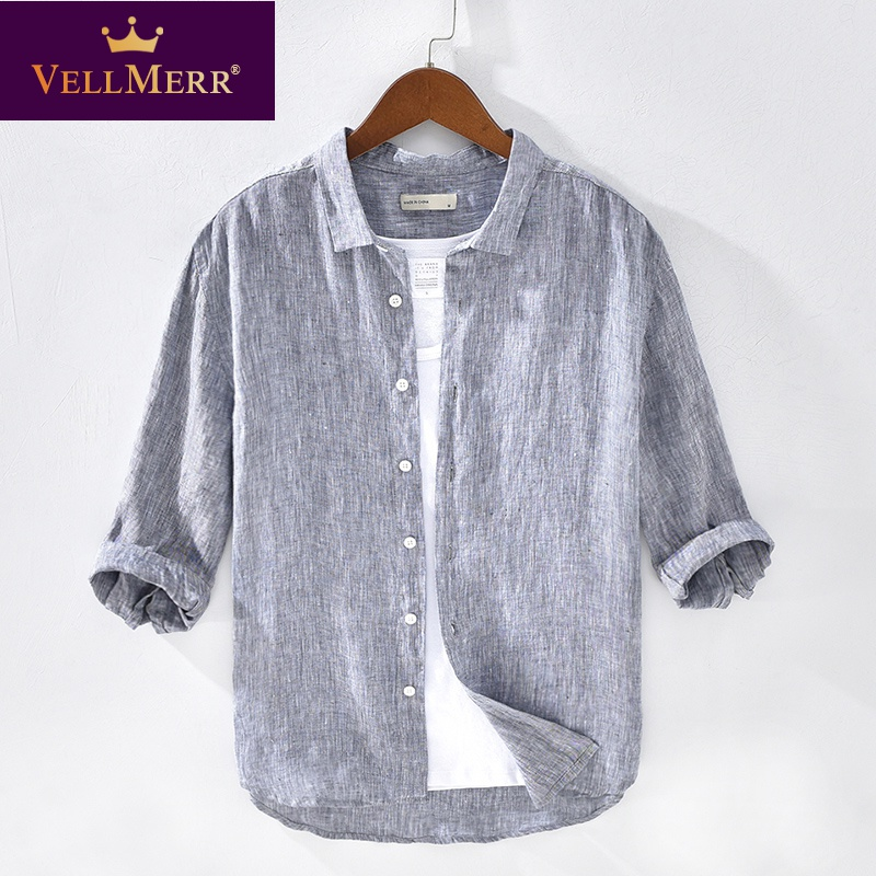 Outer linen shirt collar t-shirt mens wear with collar clothes linen 7 / 4 sleeve medium sleeve T-shirt hy0924
