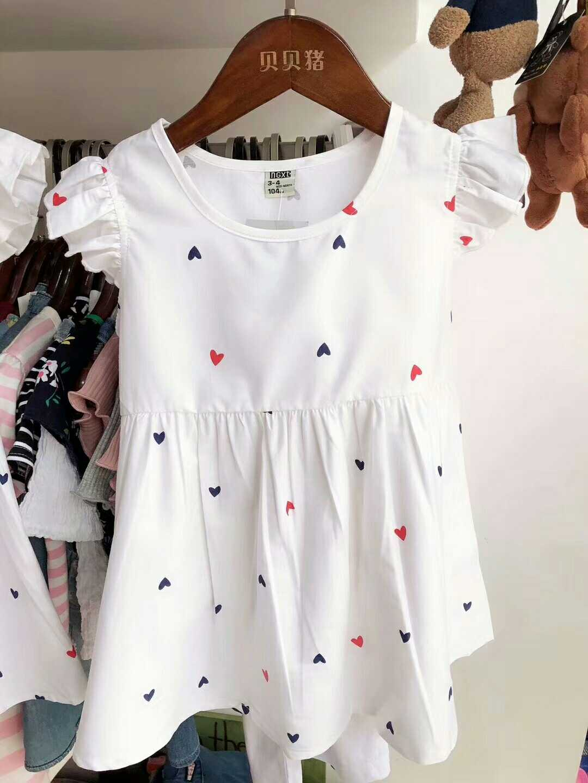 100码女童连衣裙23-29斤穿可爱飞袖 夏季清新白色心满印 收腰包邮