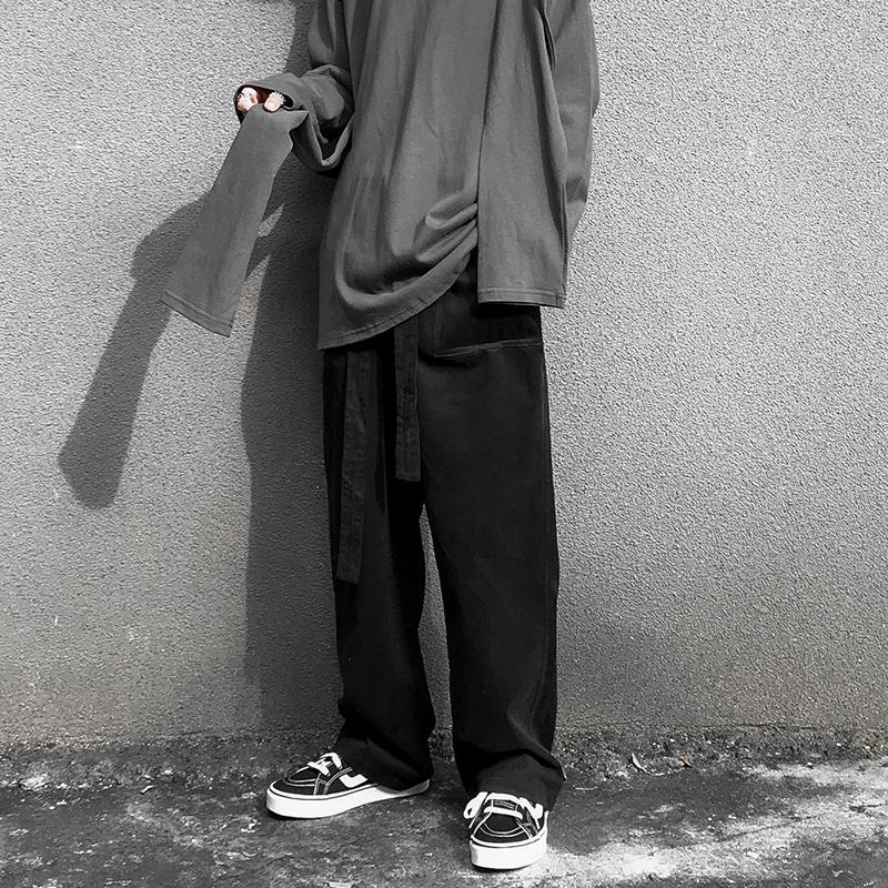 (用1元券)ins网红慵懒风潮牌黑色拖地直筒裤
