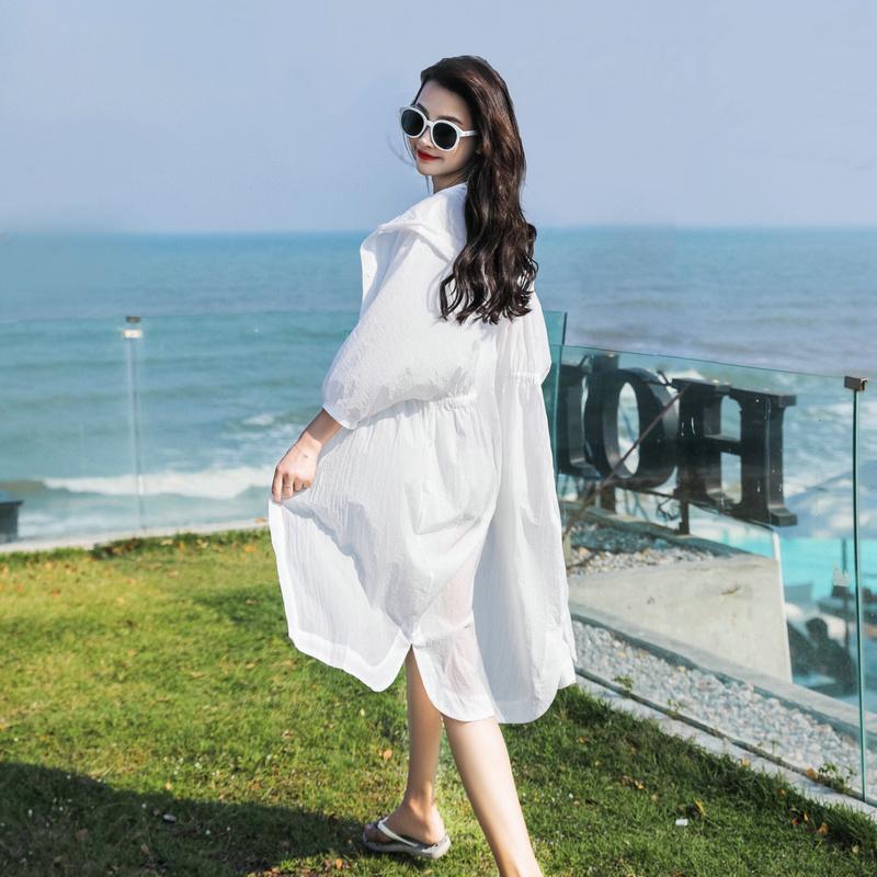 防晒衣女长袖中长款2020新款夏季超仙洋气连帽宽松仙女薄外套衫服