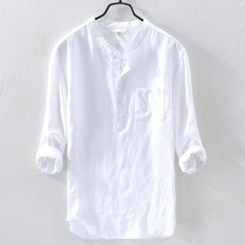 Hong Kong standing collar Linen Shirt Mens 7-point sleeve top loose retro fashion mens cotton linen shirt trend in summer