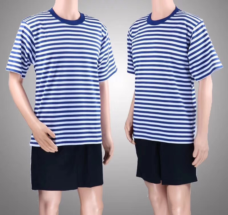 Authentic sea soul suit mens summer physical training suit fast drying blue and white stripe short sleeve Sportswear Military fan T-shirt