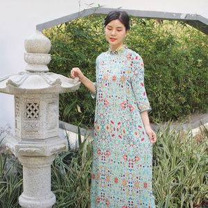 2019夏季新款复古中式风连衣裙