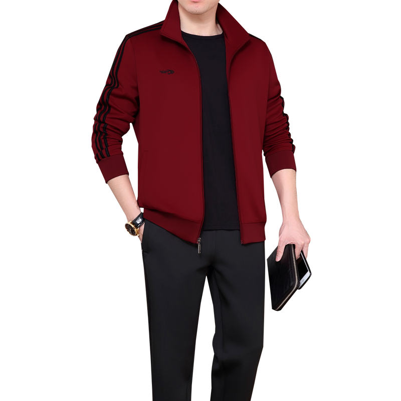 High grade brand spring and autumn 2020 mens South Korean silk sports suit cardigan Lapel middle-aged mens loose version