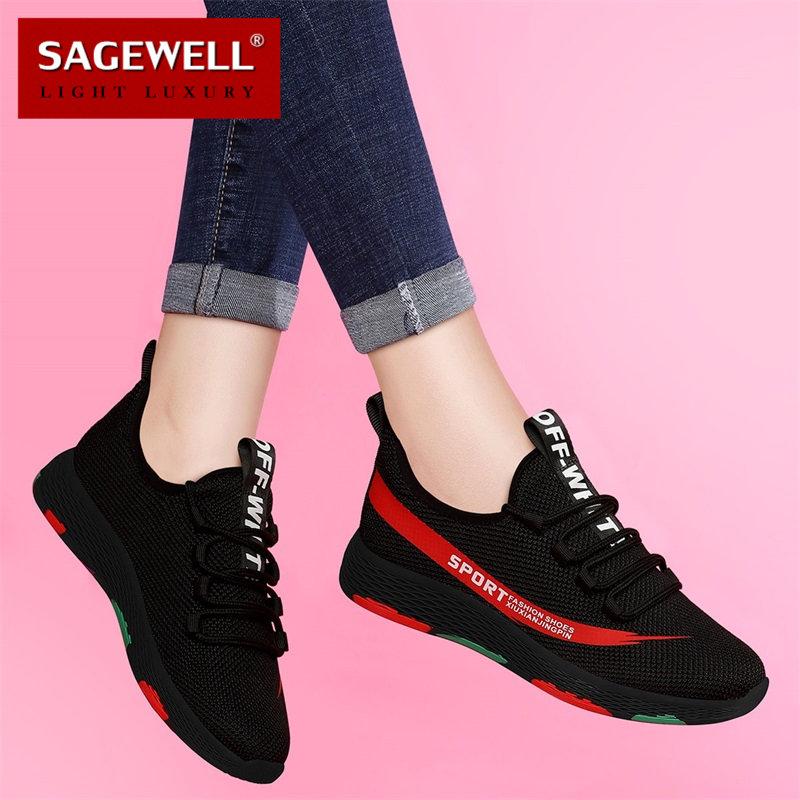 SAGEWELL2019夏季鞋子女鞋平底百搭女士韩版休闲运动跑步鞋ML0628,可领取100元天猫优惠券