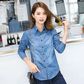 衬衣修身 外套 韩版 显瘦打底薄款 大码 牛仔衬衫 2019春秋季 女长袖 新款