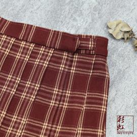 彩虹研究所苋红正统jk制服裙格子裙日系学生深红色酒红短裙百褶裙
