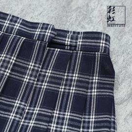 彩虹研究所浓蓝JK制服格子裙冬款加厚正统日系浓绀深藏青色百褶裙