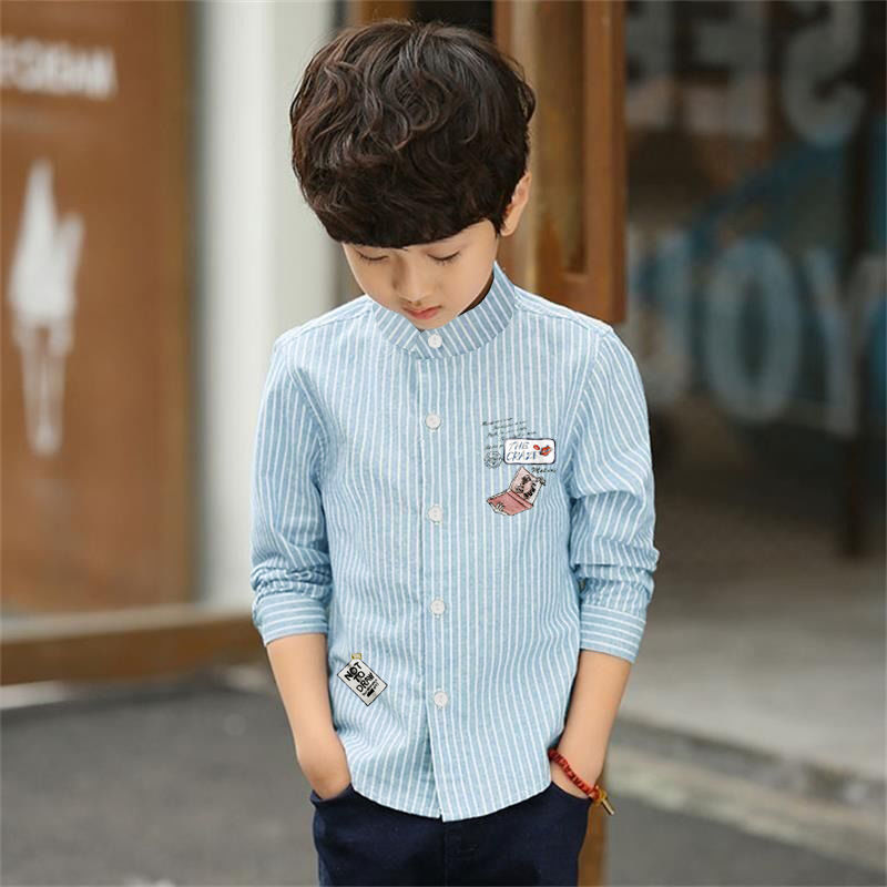 Childrens shirt mens long sleeve childrens top childrens new Korean stand collar westernized Stripe Shirt