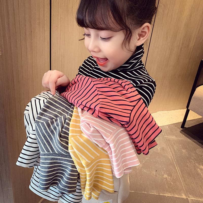 女童条纹打底衫冬装新款儿童韩版高领加绒加厚上衣小女孩保暖长袖