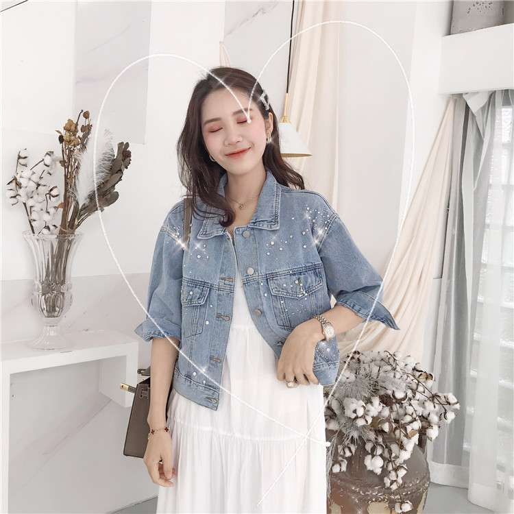 Mona denim outerwear womens short loose fit long skirt 2020 new 7-sleeve jacket thin with diamond sequins