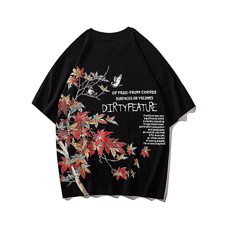 水墨夏季圆领衬衫情侣短袖T恤男女运动个性上衣半截男女文字