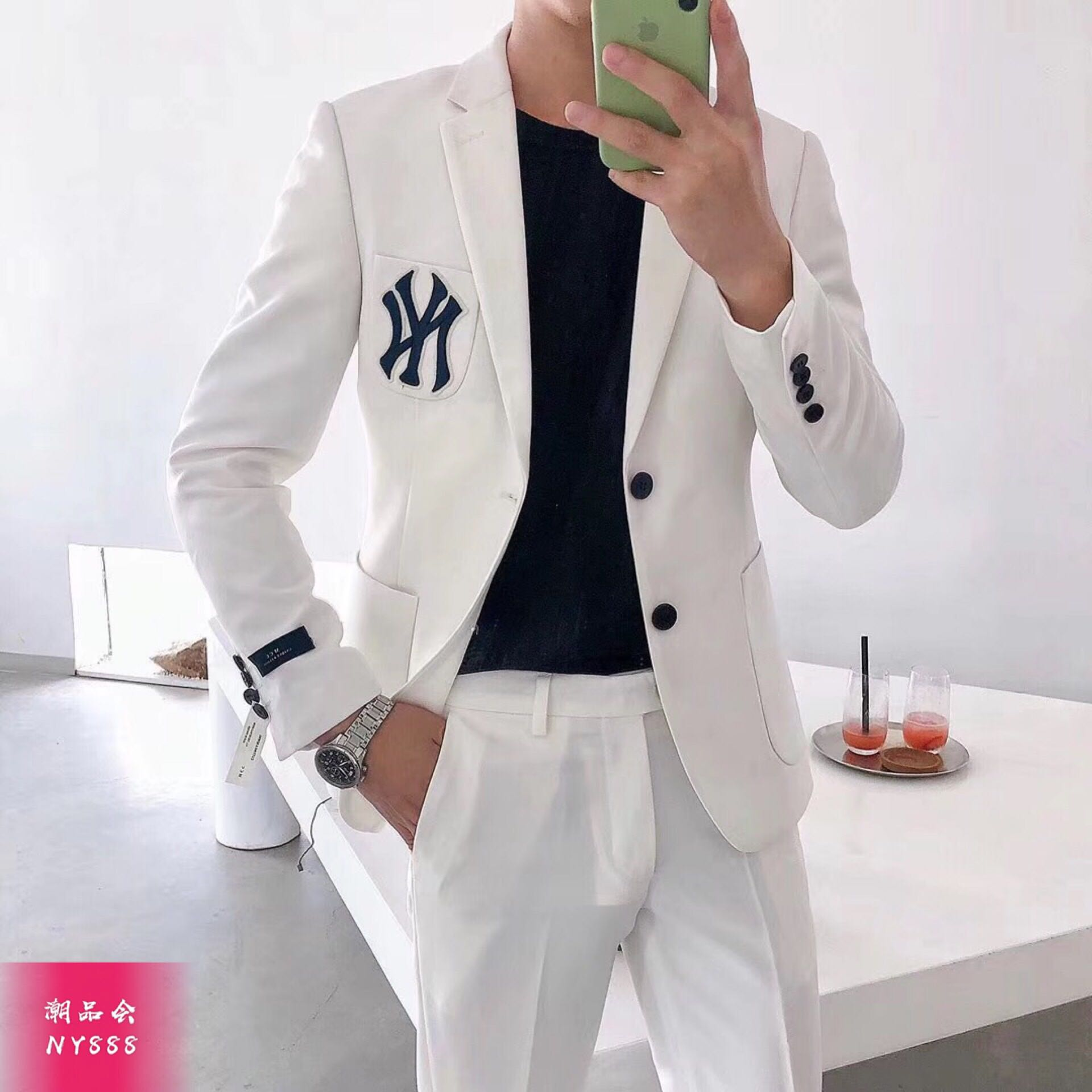Spring and autumn new ny badge suit net red casual suit
