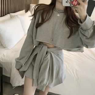 韩国东大门19AW三件套休闲运动套装女短款宽松套头卫衣+绑带短裤