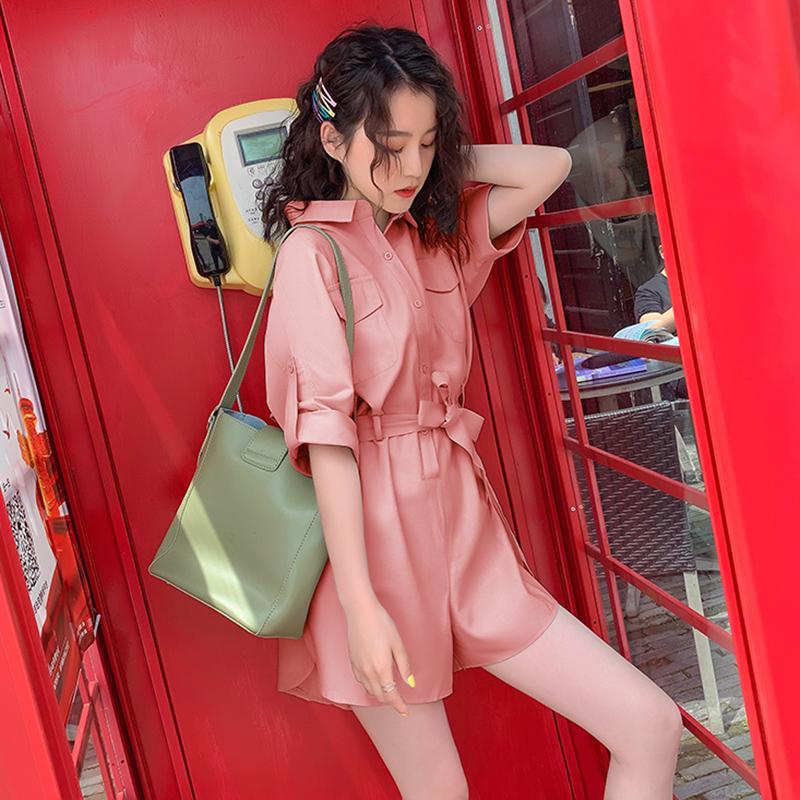 套装女时尚休闲宽松连体裤女2019夏季新款短裤短袖学生纯色连体裤