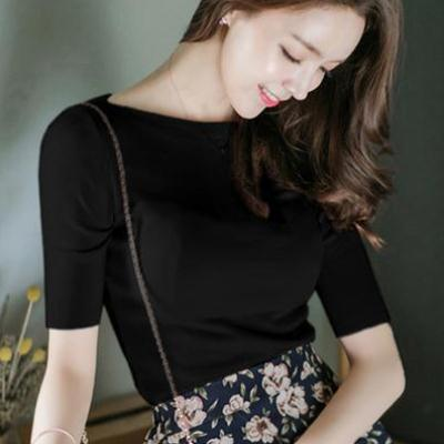 Basic ice silk knitwear womens new spring / summer 2019 slim and slim solid color one line collar simple womens top
