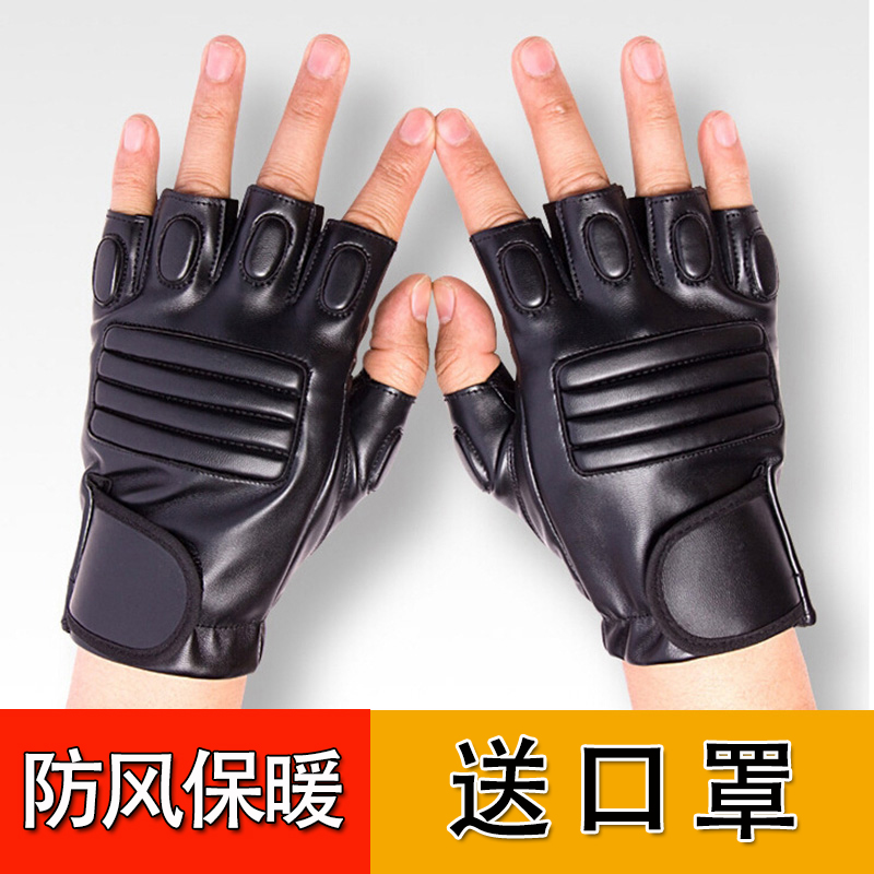 Leather gloves, mens Half Finger tactical gloves, outdoor warm, windproof, waterproof, riding, driving, Fingerless, half Pu