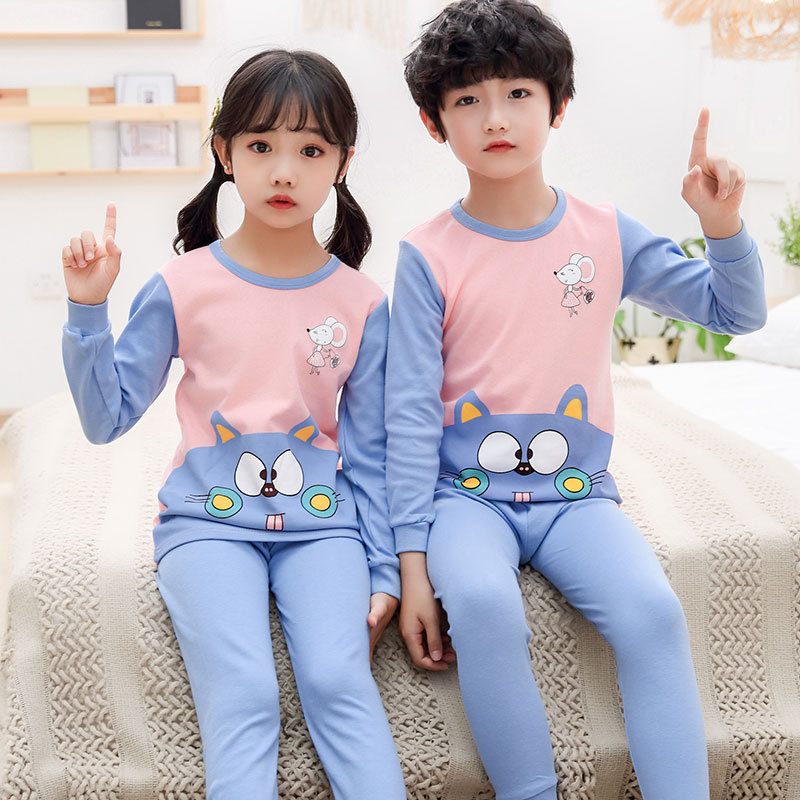 儿童秋衣套装纯棉内衣时尚保暖秋裤2020新款男童女童可爱全棉秋衣