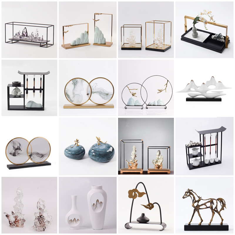 新中式样板房摆设玄关现代创意工艺品办公室软装配饰家居客厅摆件