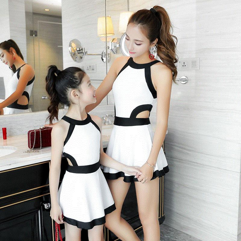 Middle school students Princess mens and girls pants childrens womens short sleeve parent-child swimsuit childrens pink one piece dress