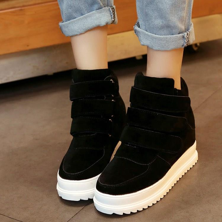 Fall 2018 casual shoes for female students new high top shoes womens shoes with thick soles Velcro