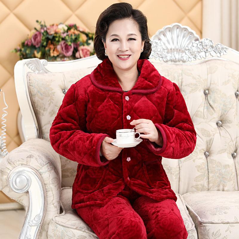 秋冬季中老年人法兰绒三层夹棉加厚睡衣妈妈款加厚睡衣家居服套装