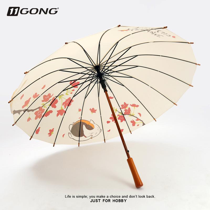 10月24日最新优惠二次元周边雨伞女少女心ins猫咪老师双人长柄大号木杆动漫小清新