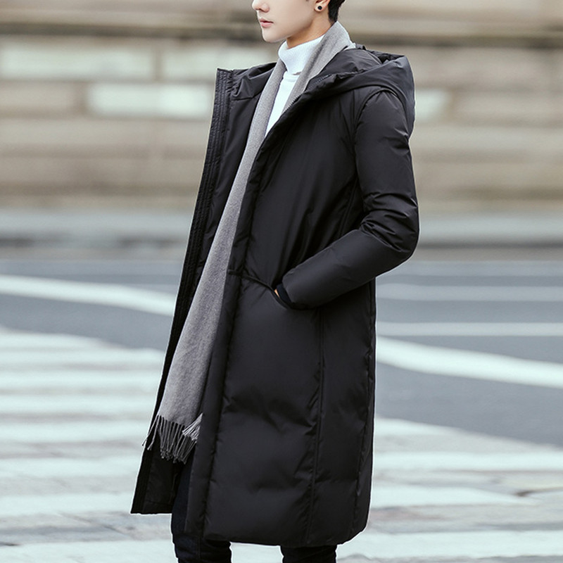 Jingji authentic mens winter thickened warm down jacket, mens Hooded Coat, students medium and long casual coat