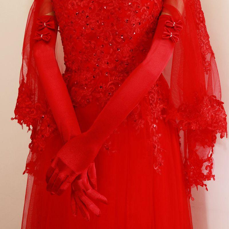 手套结婚手套婚纱手套红色缎布有指加长手套秋冬婚礼短款手套