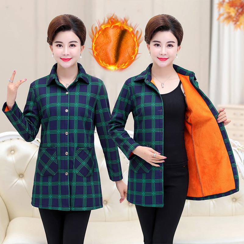 秋冬季中老年女装妈妈装加绒保暖衣女衬衫上衣大码宽松衬衣打底衫