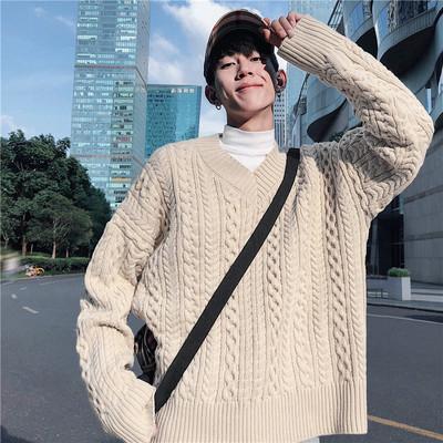 ins韩风纯色V领宽松毛衣加厚针织衫男女T8015-P78控价95大货现货