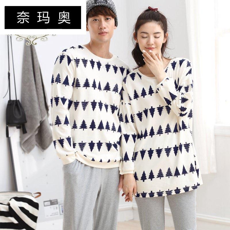 NAMAAO2017韩版青年纯棉圆领长袖睡衣套装印花套头长裤秋季情