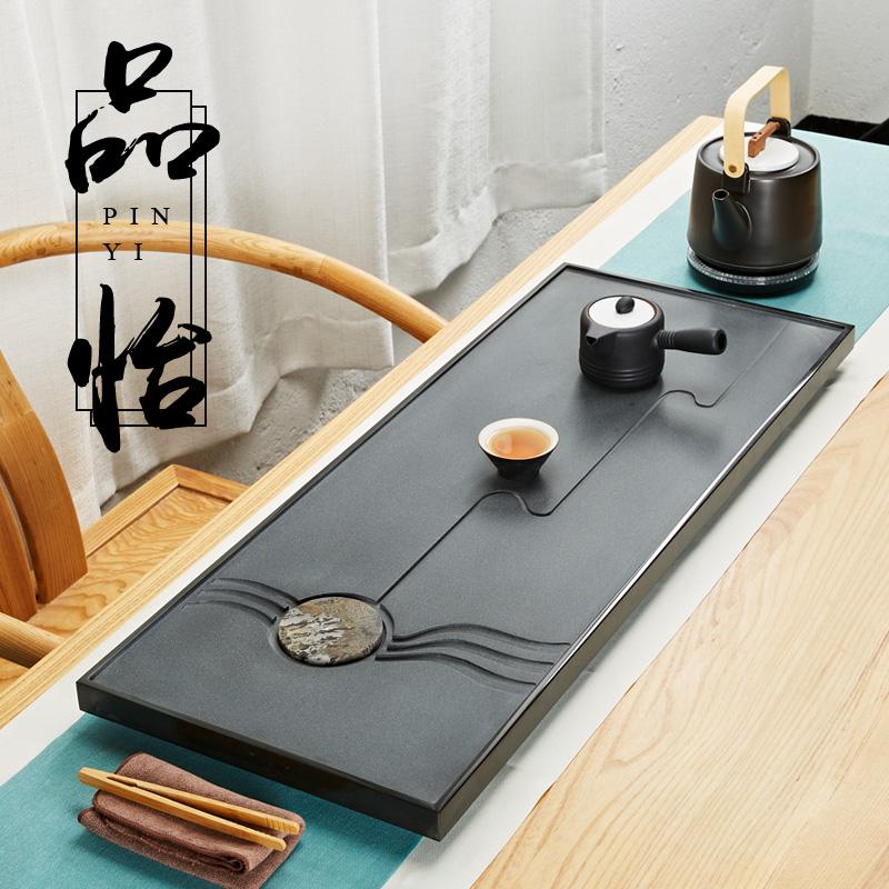 Shifuji stone tea tray whole piece Wujin stone household small tea table tea set tea tray natural Chinese painting stone