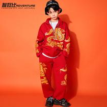 春节汉服拜年服男童街舞潮服套装新款中国风嘻哈潮演出服少儿酷炫