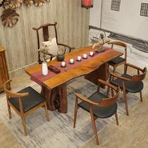 茶桌椅组合实木泡喝茶桌中式仿古办公功夫茶艺米1.8榆木茶台茶几