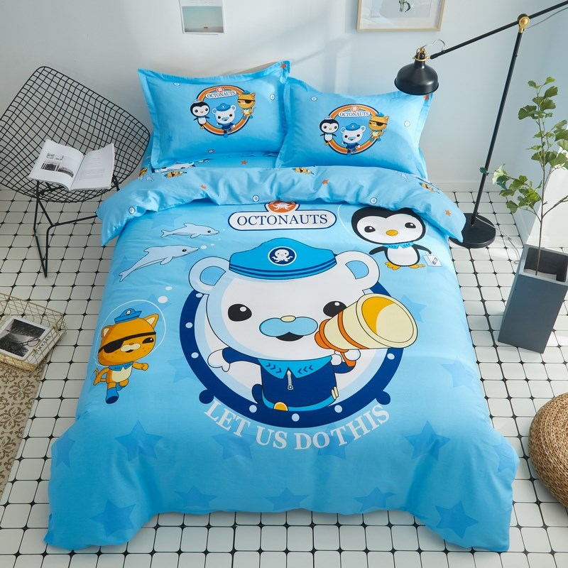 Seafloor small column four piece set of pure cotton cartoon boys all cotton bed sheet quilt cover childrens Three Piece Bedding Set