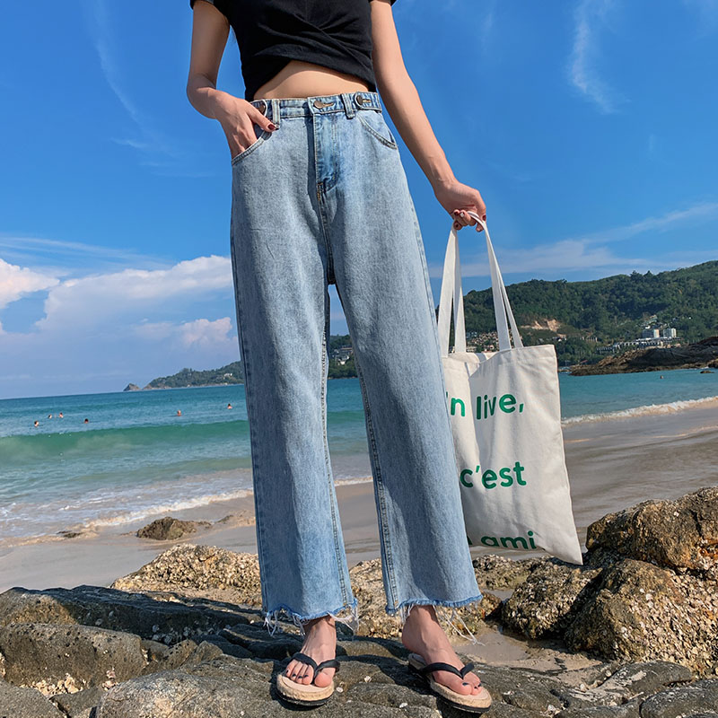 Jeans womens 2021 New High Waist Wide Leg micro trumpet slim Capris loose light blue straight pants