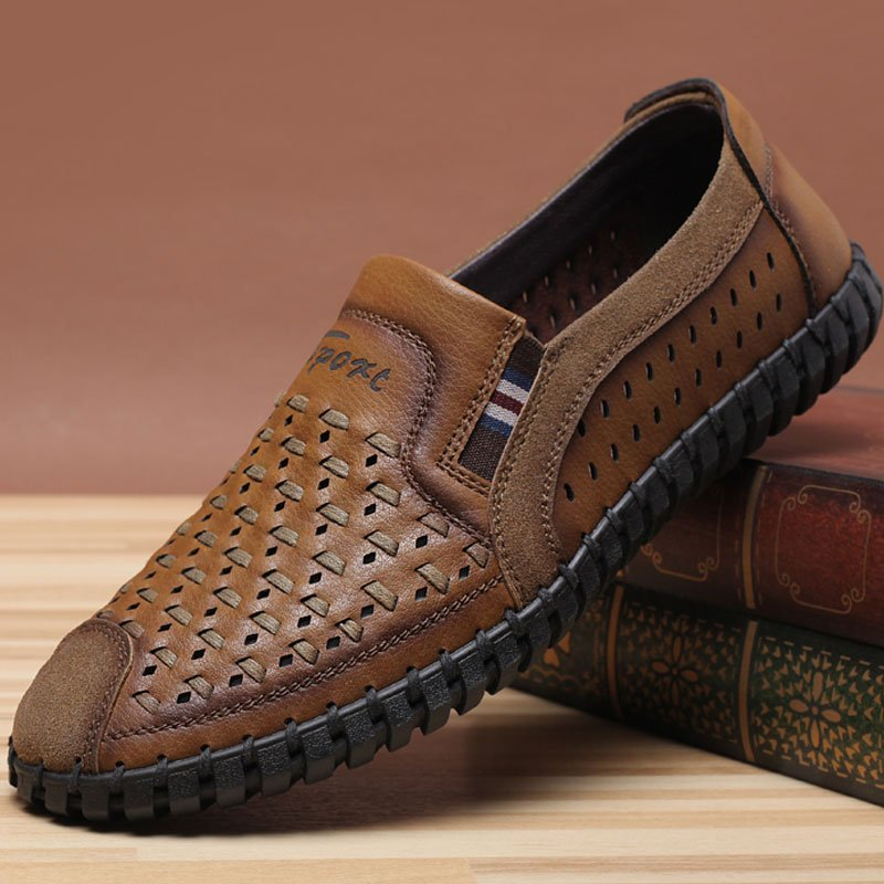 Official brand of woodpecker new summer mens leather sandals, ventilation trend, mens shoes, leisure mesh