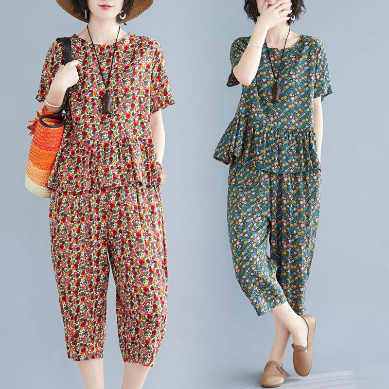 肯梵图2021夏装新款文艺大码女装减龄印花休闲套装T恤裤子两件套