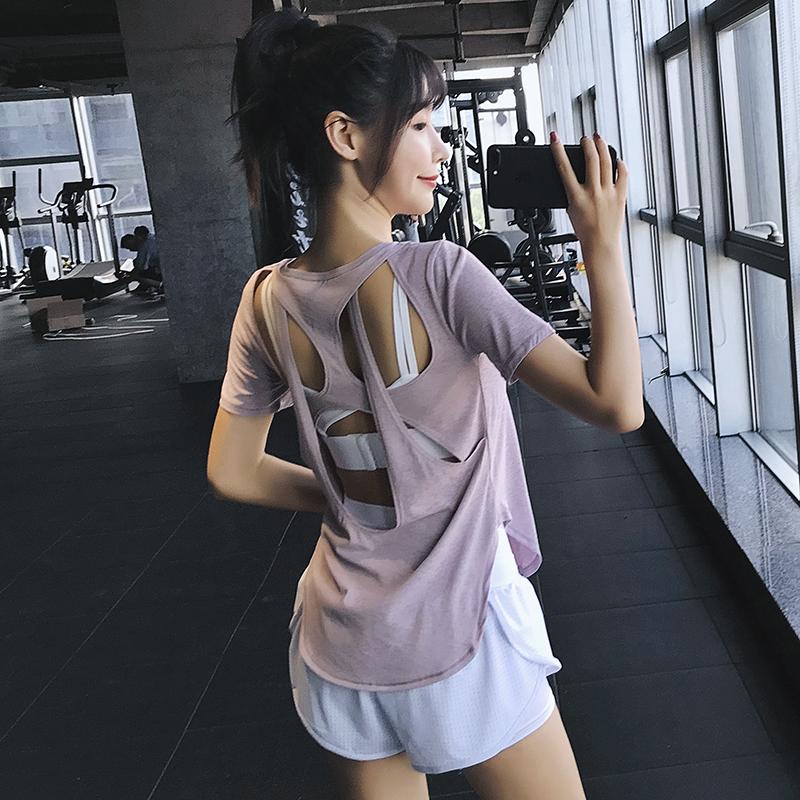 券后79.00元露背宽松运动上衣美背速干衣瑜伽服女夏季跑步薄款健身衣短袖T恤