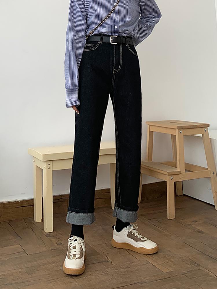 秋季新款大码牛仔裤女宽松显瘦微胖女孩穿搭直筒裤梨型身材裤子潮