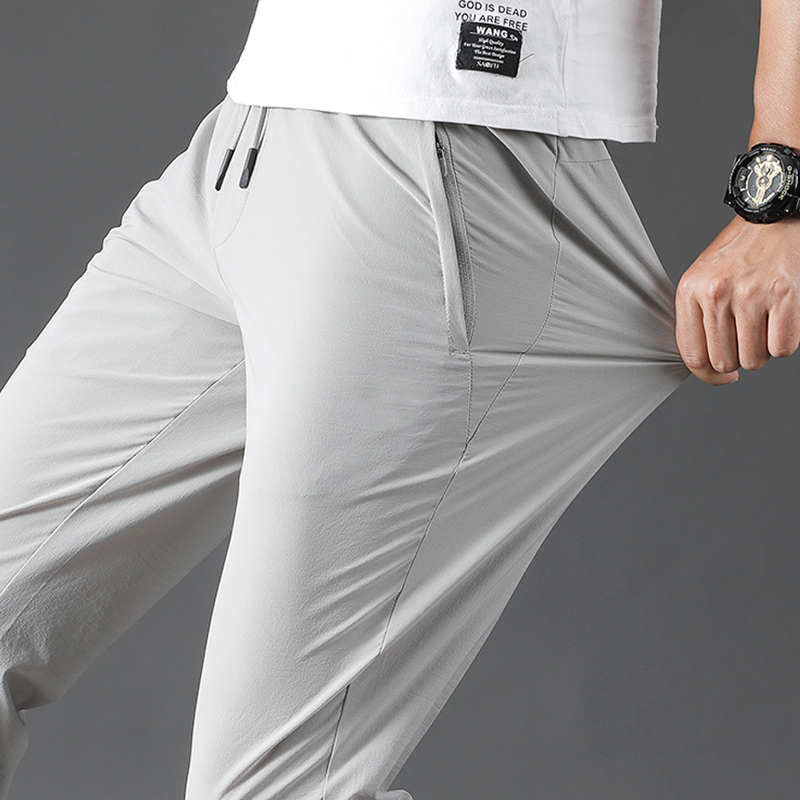 Outdoor quick dry pants mens summer thin elastic straight tube loose pants sports casual ice silk mountaineering pants