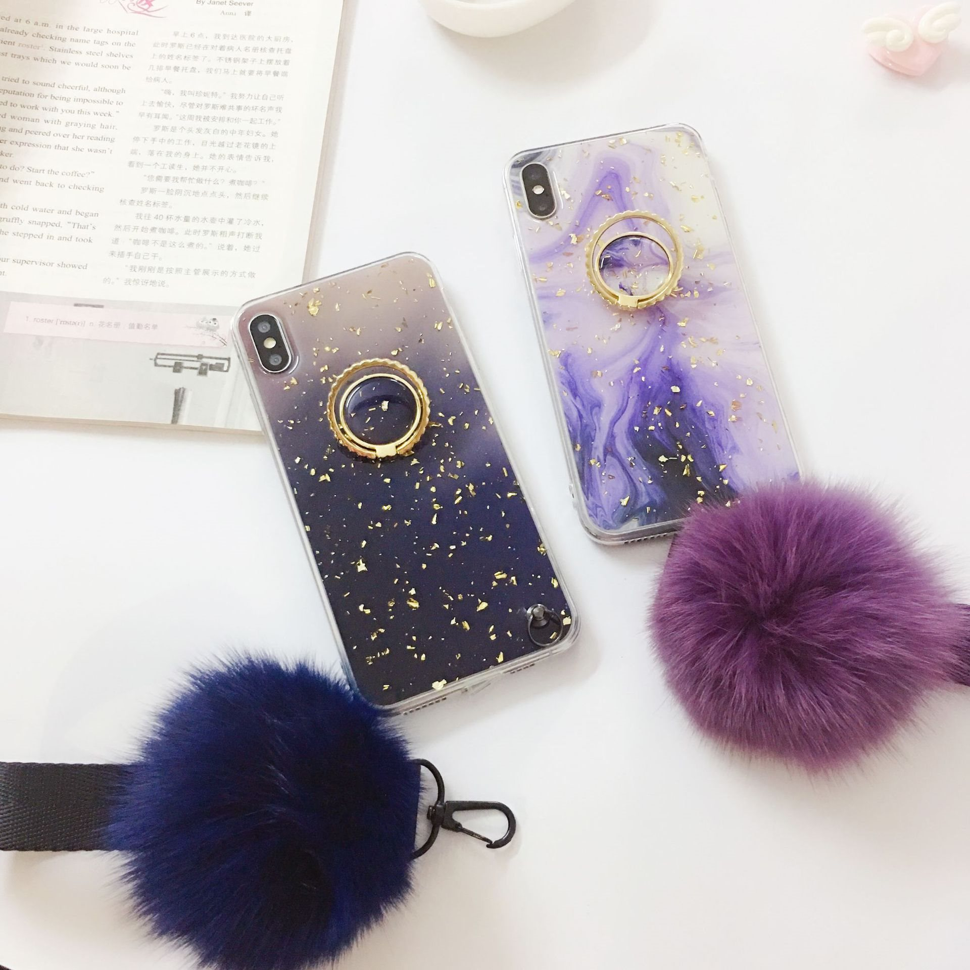 iPhoneXS max滴胶铂金毛球TPU支架手机壳适用苹果7/8plus保护套