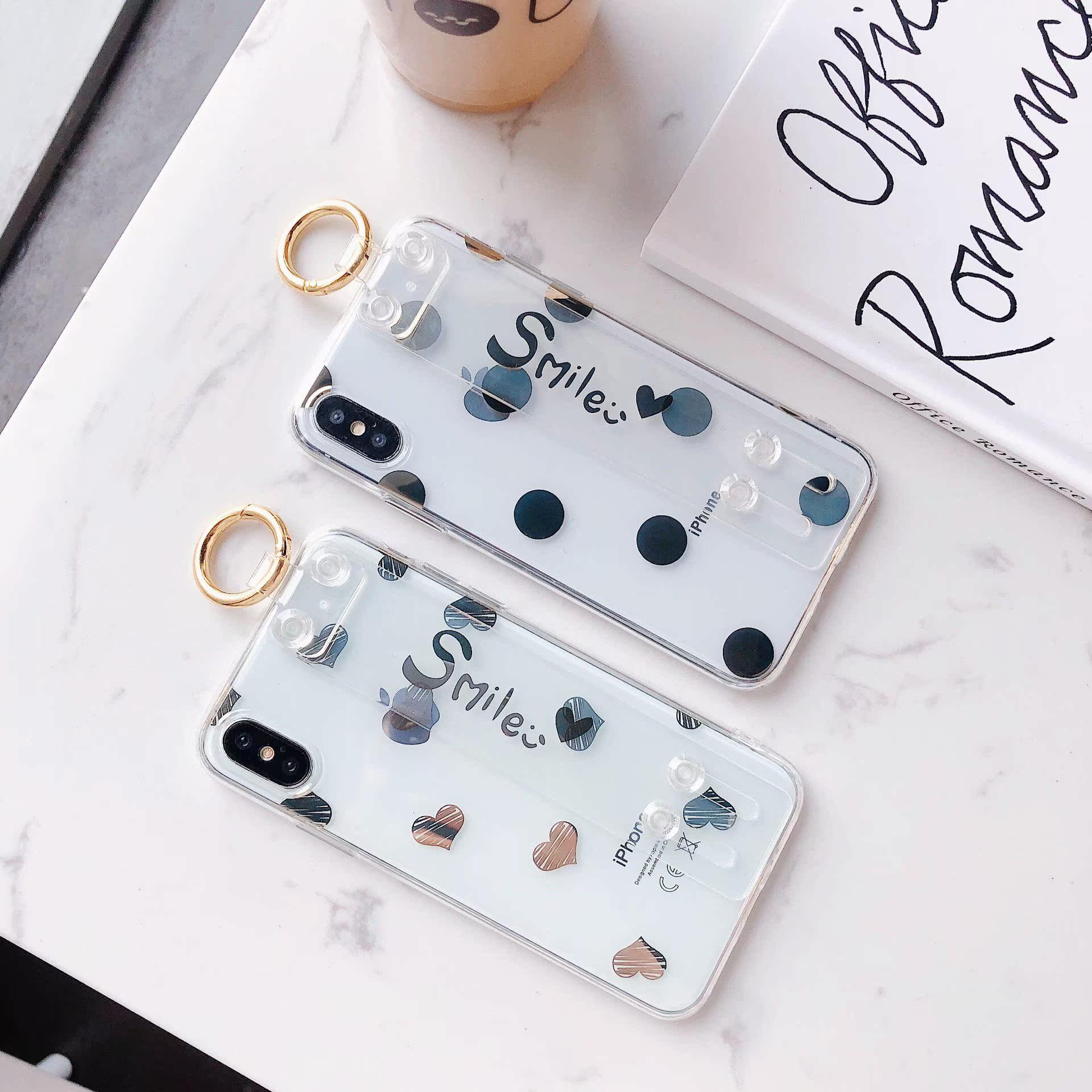 潮牌电镀波点爱心腕带支架iPhoneX手机壳适用苹果7Plus软胶女款6S