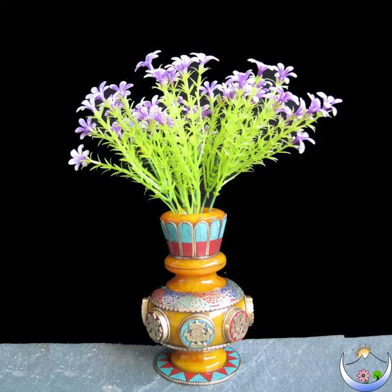 西藏花瓶吉祥八宝花瓶藏式摆件家居装饰仿蜜蜡镶嵌彩石小花瓶