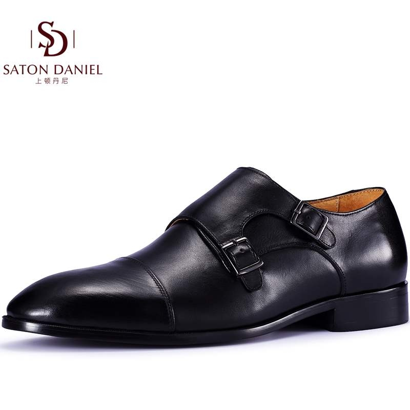 Pointed handmade bridegrooms wedding shoes buckle monk mengke shoes genuine leather business dress mens shoes 6cm 8